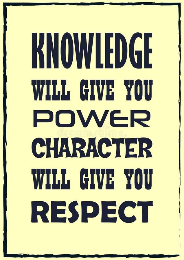 Citation de inspiration de motivation La connaissance vous donnera que le caractère de puissance vous donnera pour respecter Affi illustration de vecteur