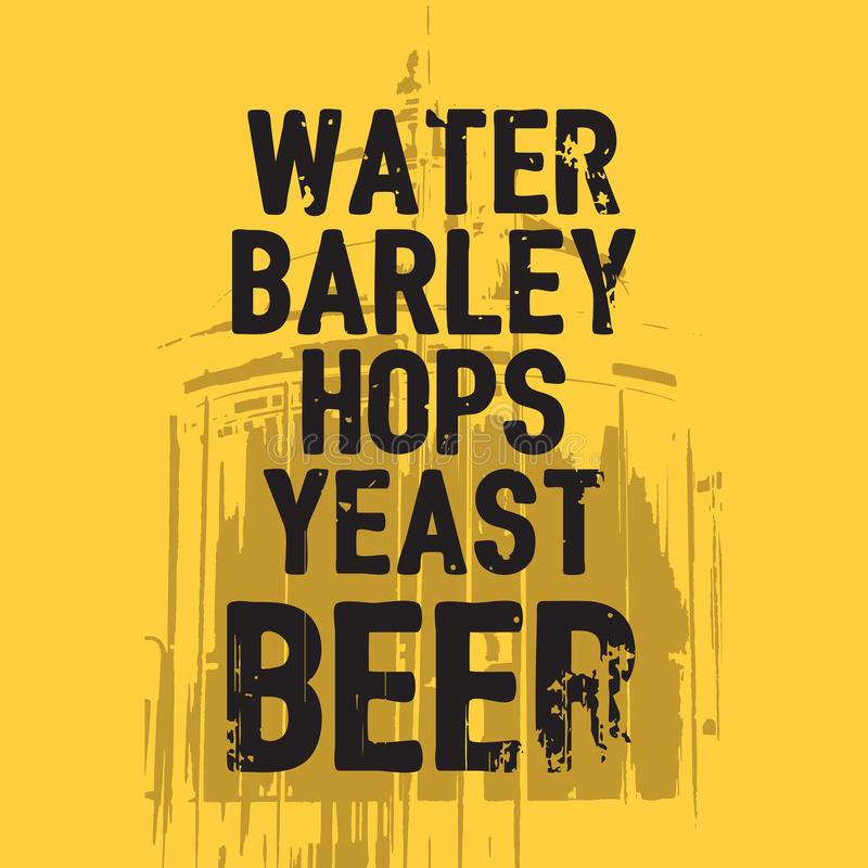Citation de levure d'houblon d'orge de l'eau de bière illustration stock