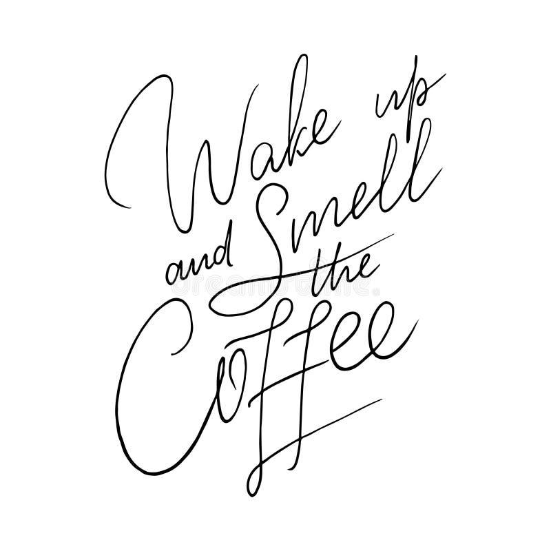 citation de Main-lettrage avec le croquis pour le café ou le café illustration stock