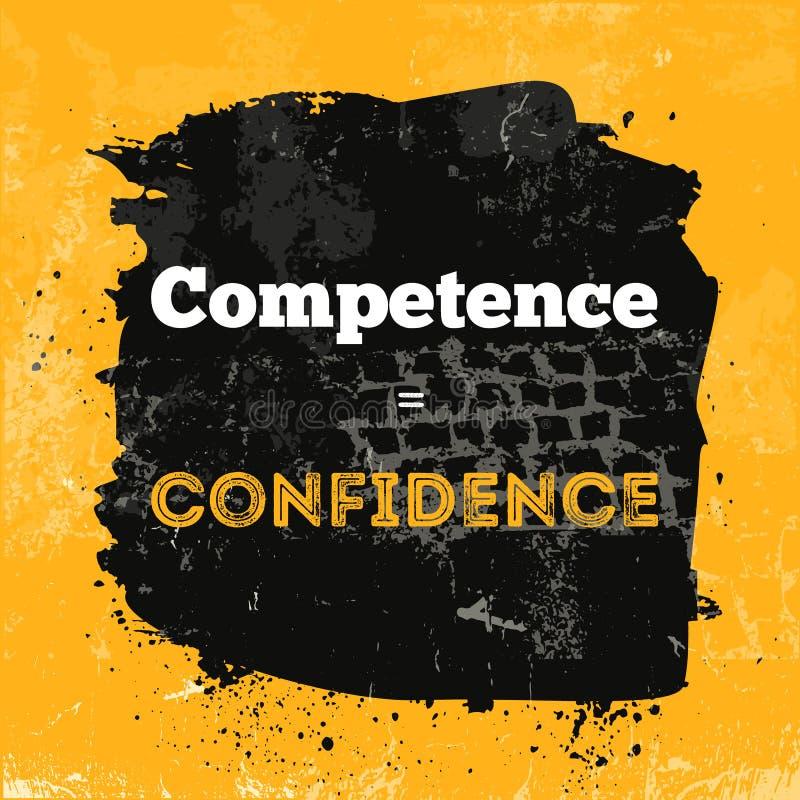 Citation de motivation au sujet de la compétence et de la confiance Expression de vecteur sur le fond foncé Meilleur pour des aff illustration libre de droits