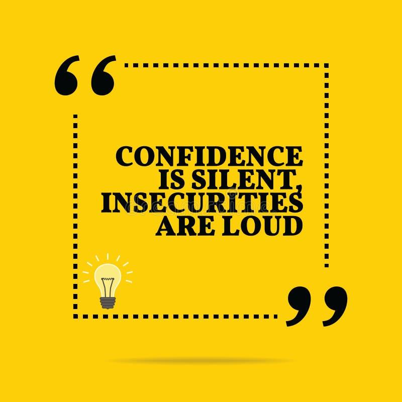 Citation de motivation inspirée La confiance est silencieuse, insecuri illustration de vecteur