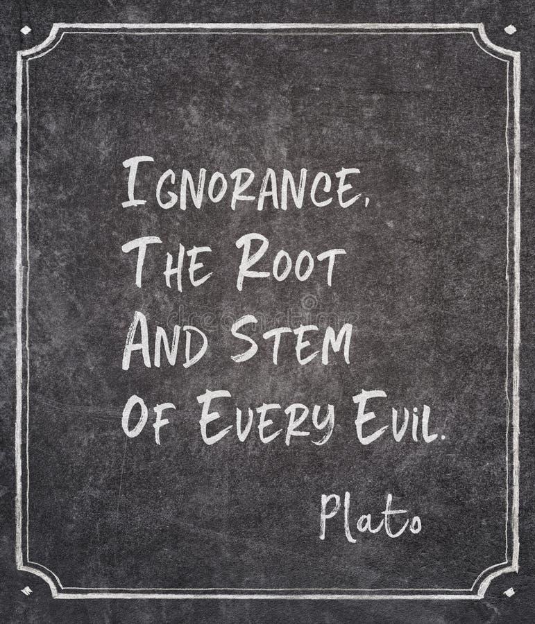 Citation de Platon d'ignorance photographie stock libre de droits
