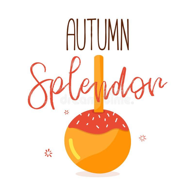 Citation de splendeur d'automne avec la pomme de caramel - citation inspirée illustration libre de droits