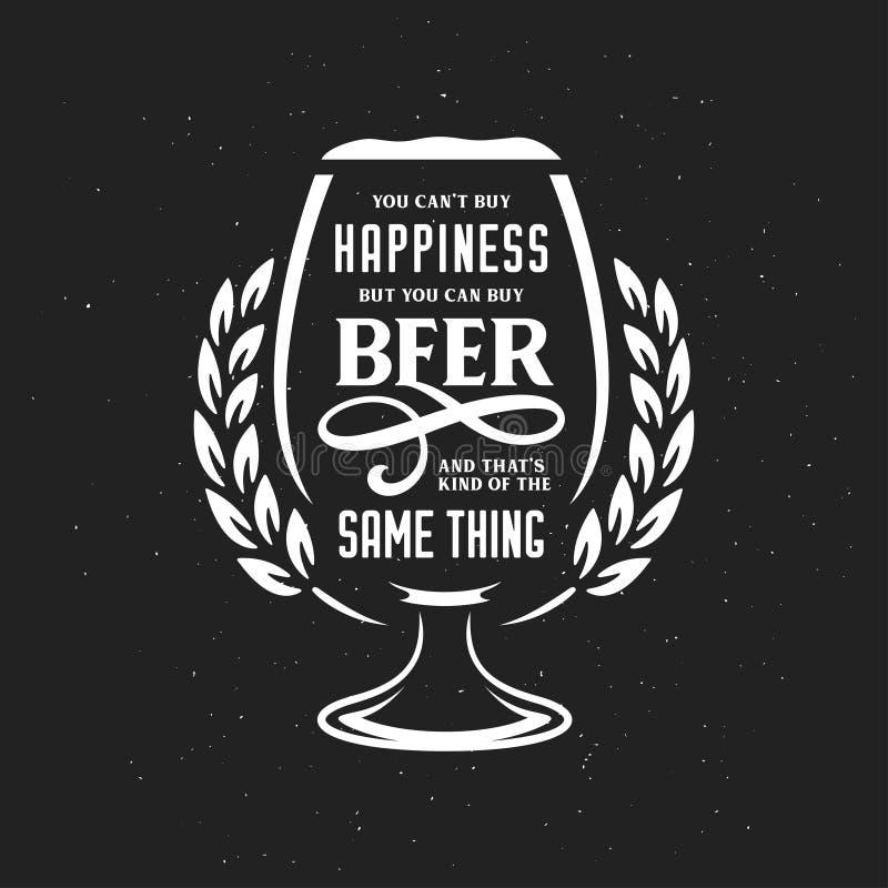 Citation de typographie connexe par bière Illustration de vintage de vecteur illustration stock