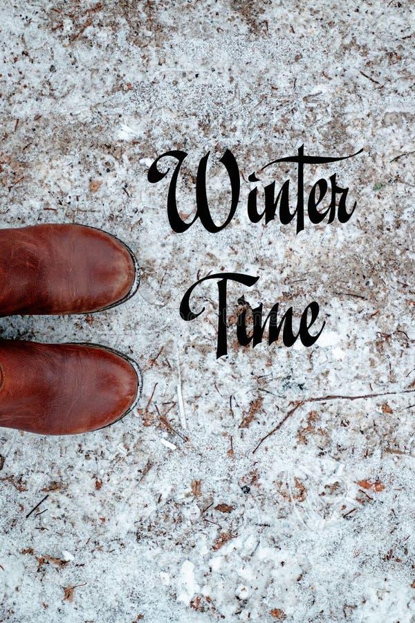 Citation de typographie Horaire d'hiver photo stock