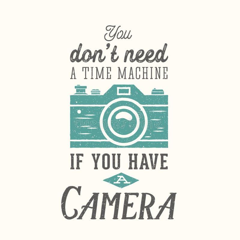 Citation de vecteur de photographie d'appareil-photo de vintage, label illustration libre de droits