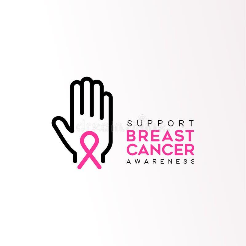 Citation des textes de soutien de ruban de rose de soin de cancer du sein illustration libre de droits