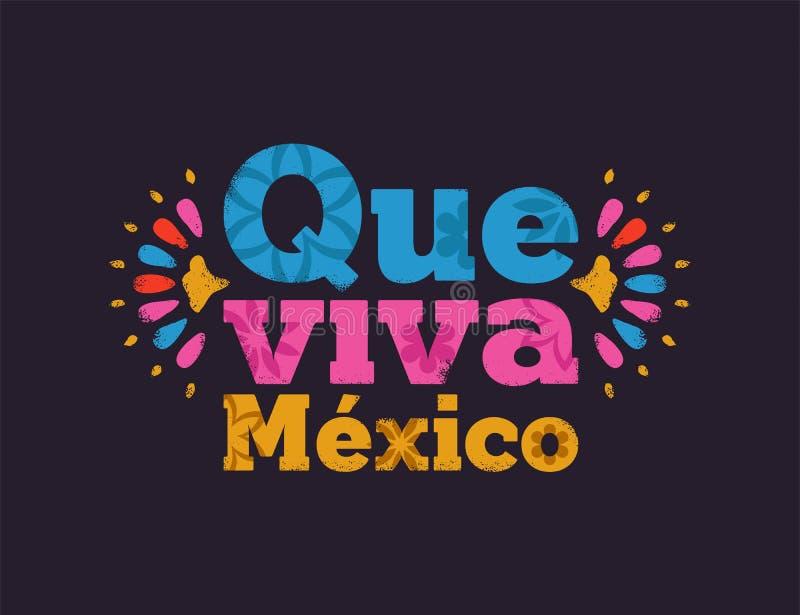 Citation des textes du Mexique de vivats de Que pour des vacances mexicaines illustration stock