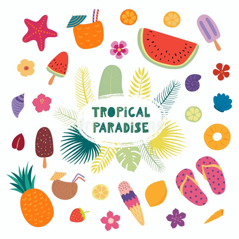 Citation et éléments tropicaux illustration stock