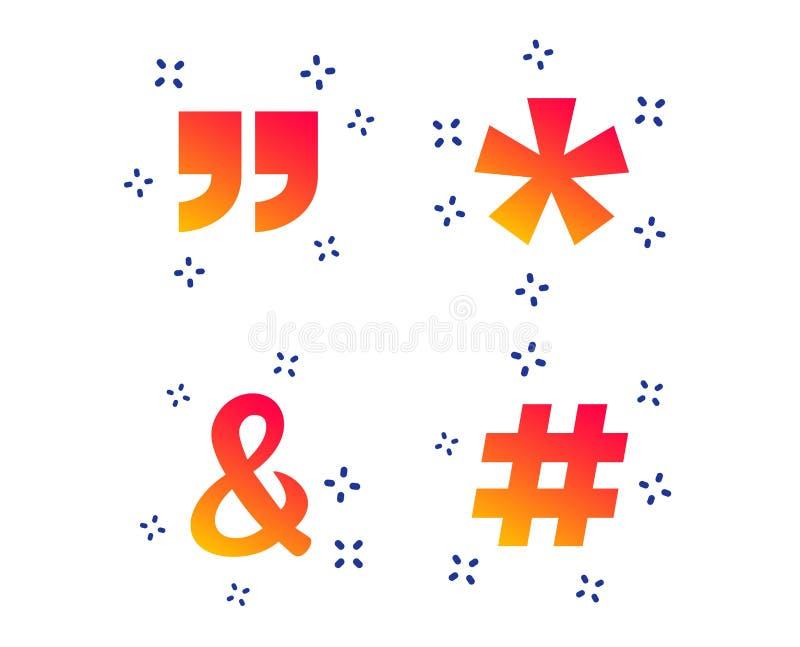 Citation, icônes de note de bas de page d'astérisque Symbole de Hashtag Vecteur illustration de vecteur