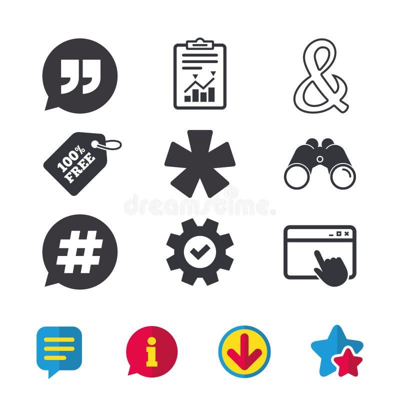 Citation, icônes de note de bas de page d'astérisque Symbole de Hashtag illustration libre de droits