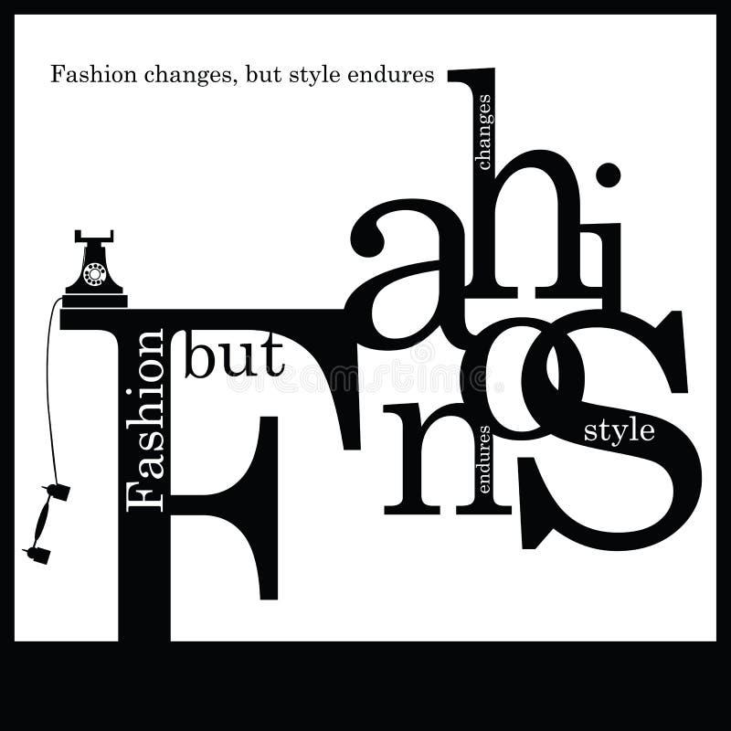 Citation inspirée au sujet de mode et de style illustration stock