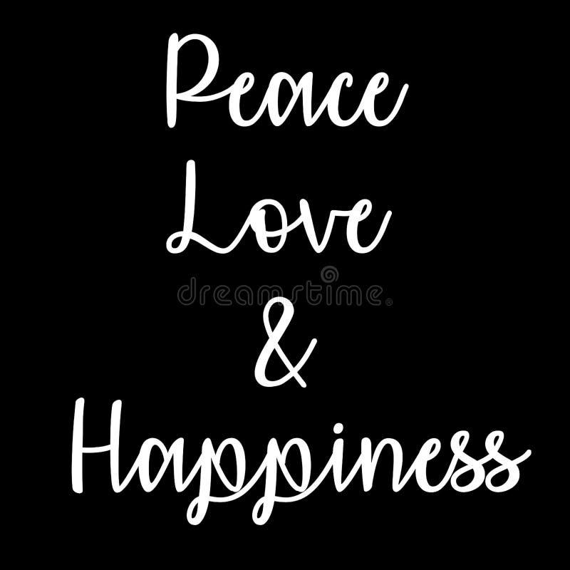 Citation inspirée et consciente : Paix, amour et bonheur illustration stock