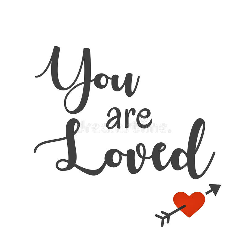 Citation inspirée et d'Affirmational d'amour : Vous êtes aimé illustration stock