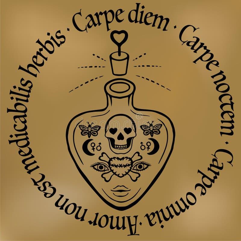 Citation inspir e vecteur de bouteille de philtre d 39 amour - Tatouage symbole amour ...