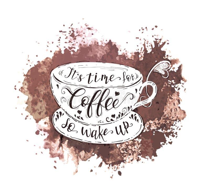 Citation sur la tasse de café et l'éclaboussure d'aquarelle illustration libre de droits