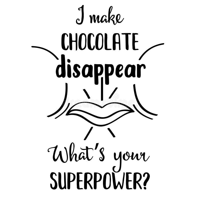 Citation tirée par la main drôle au sujet de chocolat illustration stock