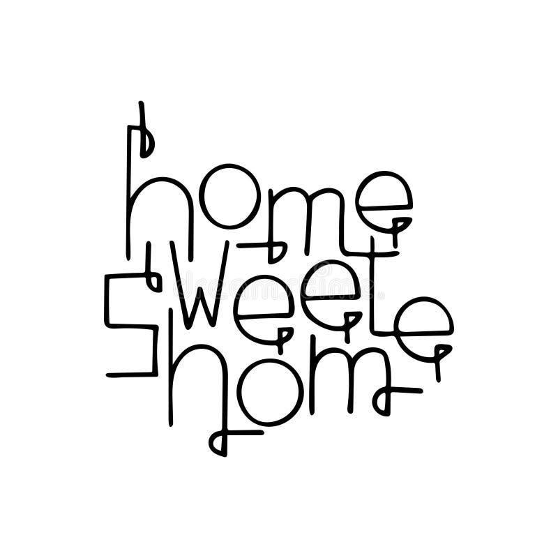Citation tirée par la main monochrome de lettrage avec une maison de bonbon à maison d'expression illustration libre de droits