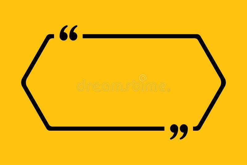 Citation vide de vecteur de calibre Hexagone avec la parenthèse illustration stock
