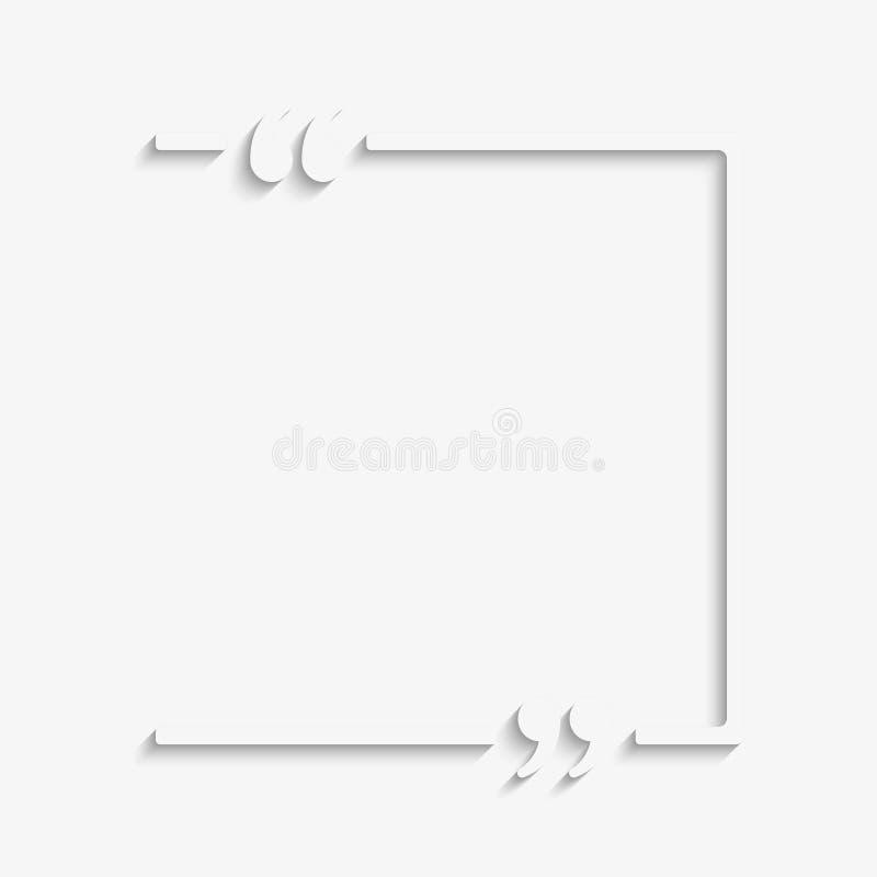 Citation vide de vecteur de calibre Place avec la parenthèse illustration de vecteur