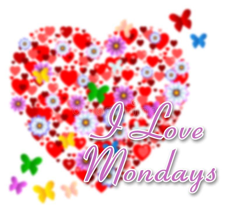 Citations d'amour de lundi - fleurs et papillons - illustration 3d illustration libre de droits