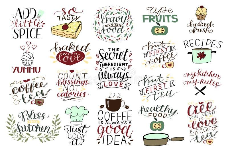 19 citations de main-lettrage au sujet de nourriture, caf?, th?, cuisine illustration stock