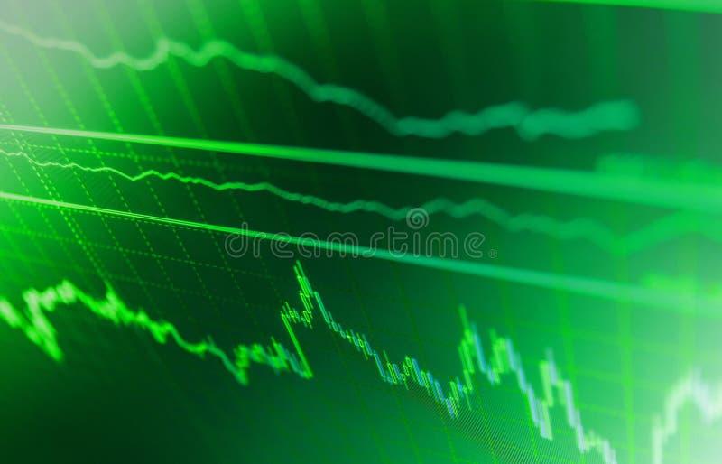 Citations de marché boursier sur l'affichage Montre des prix de Bitcoin Diagramme courant de fond image libre de droits