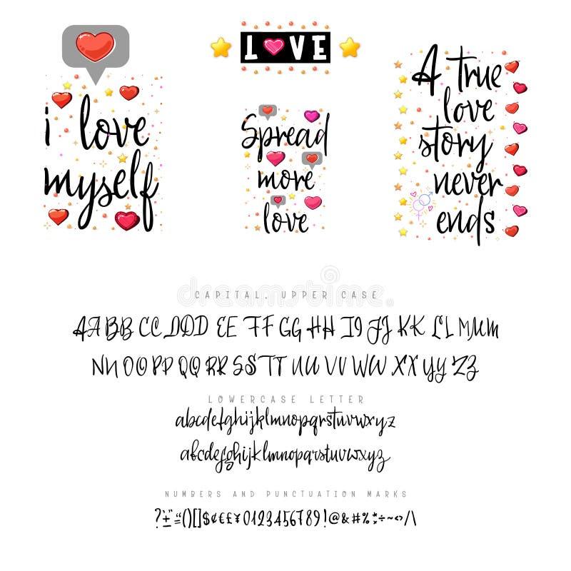 Citations et manuscrit d'amour Cru marquant avec des lettres la police pour la conception de T-shirt Carte de Valentine Alphabet  illustration de vecteur