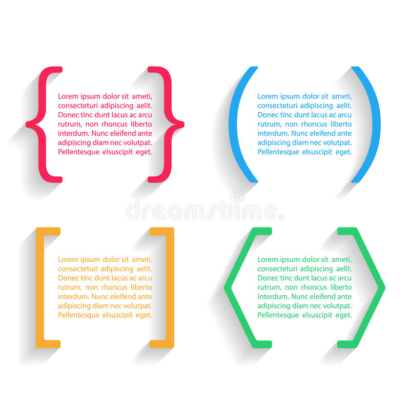 Citations et parenthèses de vecteur de couleur avec l'ombre Illustration de vecteur illustration stock