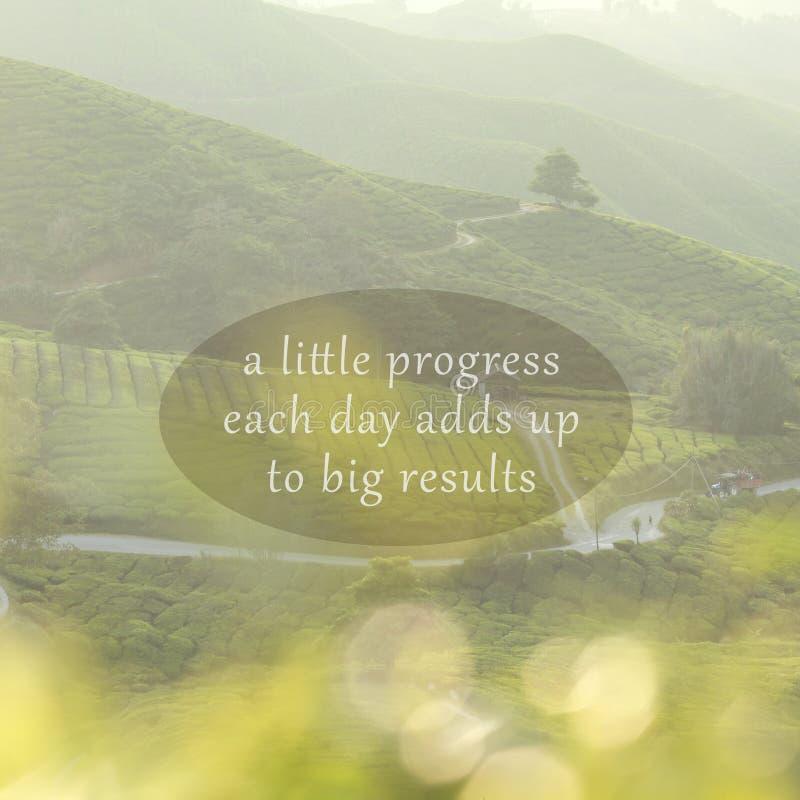 Citations inspirées de motivation sur le fond de nature Un petit P images stock