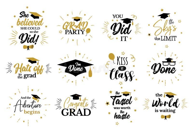 Citations inspirées de partie de diplômé aux diplômés de congrat illustration libre de droits