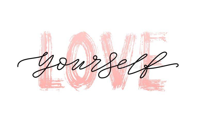 Citationstecken för förälskelse själv Enkelt ord Svartvit modern illustration för vektor för kalligrafitexttryck ego stock illustrationer