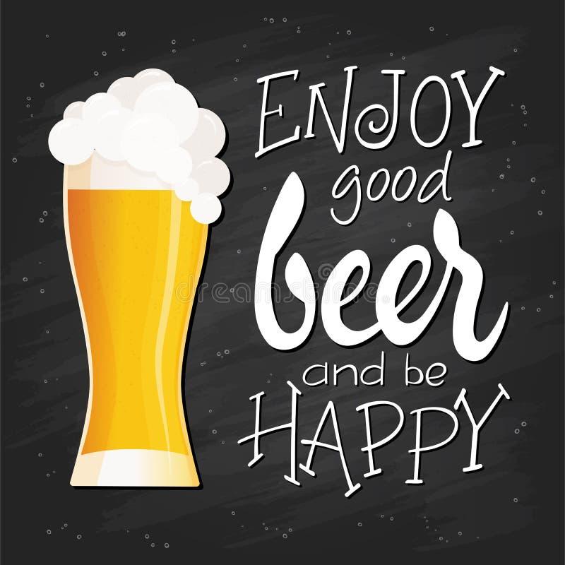 Citationstecken för vektorhandbokstäver - tyck om bra öl och var lycklig - med plant exponeringsglas av öl med fluffigt skum på s royaltyfri illustrationer