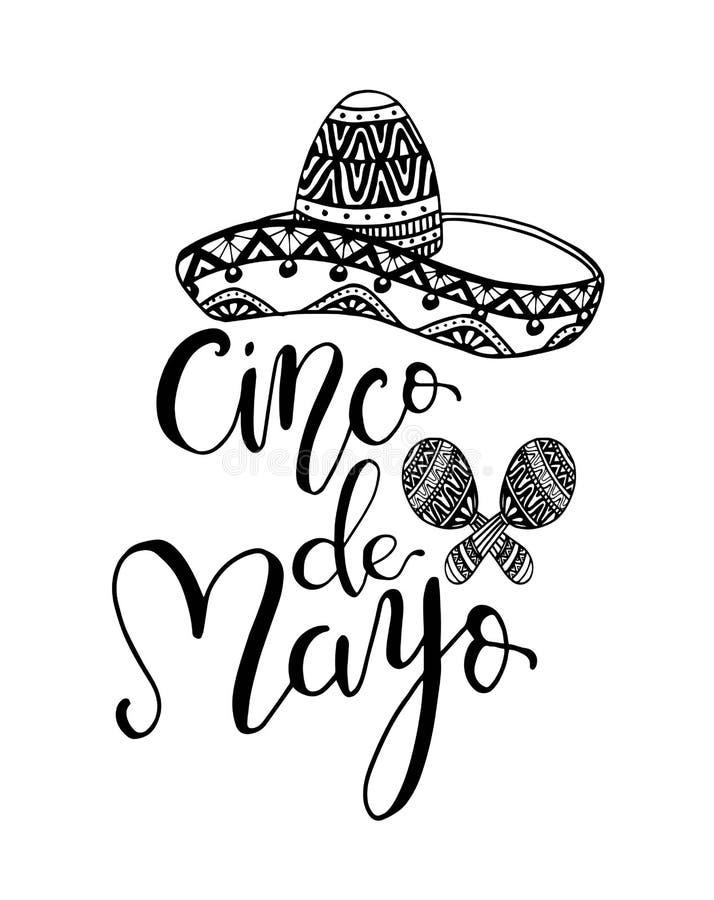Citationstecken f?r bokst?ver f?r Cinco de Mayo hand skriftligt med sombreron Modern borstekalligrafi royaltyfri illustrationer