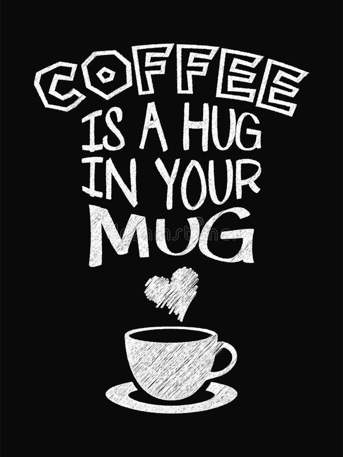 Citationsteckenkaffeaffisch Kaffe är en kram i ditt rånar royaltyfri illustrationer