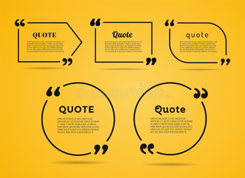 Citationsteckentextbubbla Komman anmärkning, meddelande och stock illustrationer