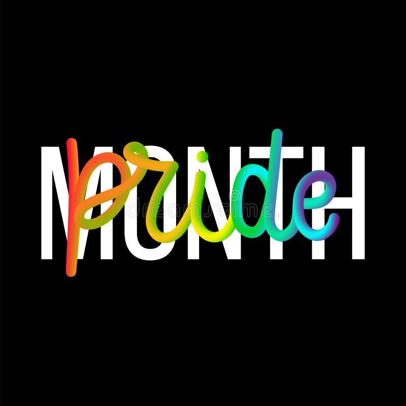 Citazione dell'iscrizione di mese 3D di orgoglio dell'arcobaleno isolata sui precedenti neri illustrazione di stock
