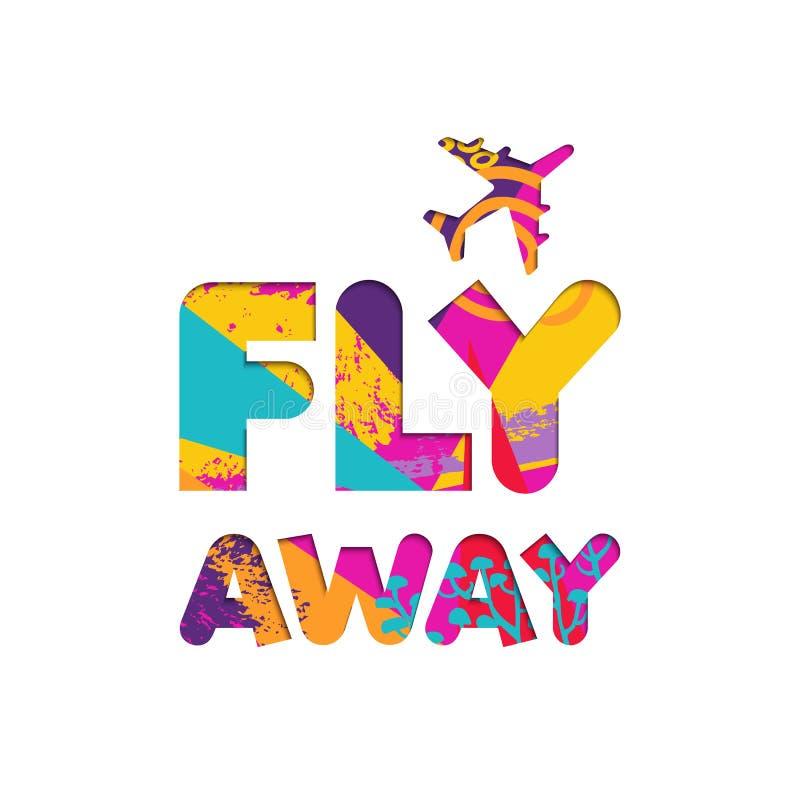 Citazione di colore del ritaglio di viaggio dell'aereo di vacanze estive royalty illustrazione gratis