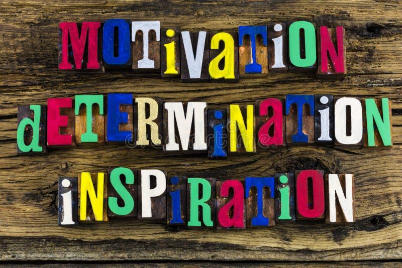 Citazione di ispirazione di determinazione di motivazione immagine stock