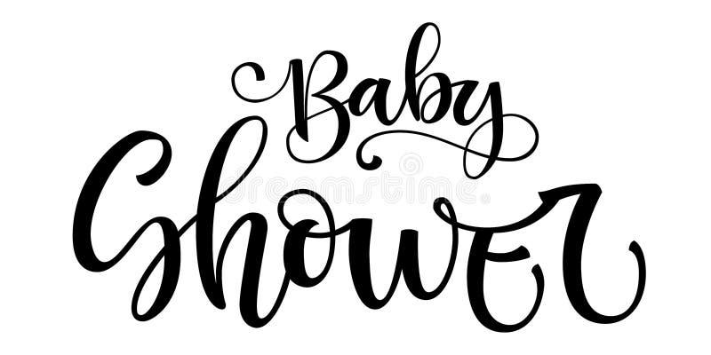 Citazione di logo del neonato Frase moderna disegnata a mano di calligrafia della spazzola della doccia di bambino illustrazione vettoriale