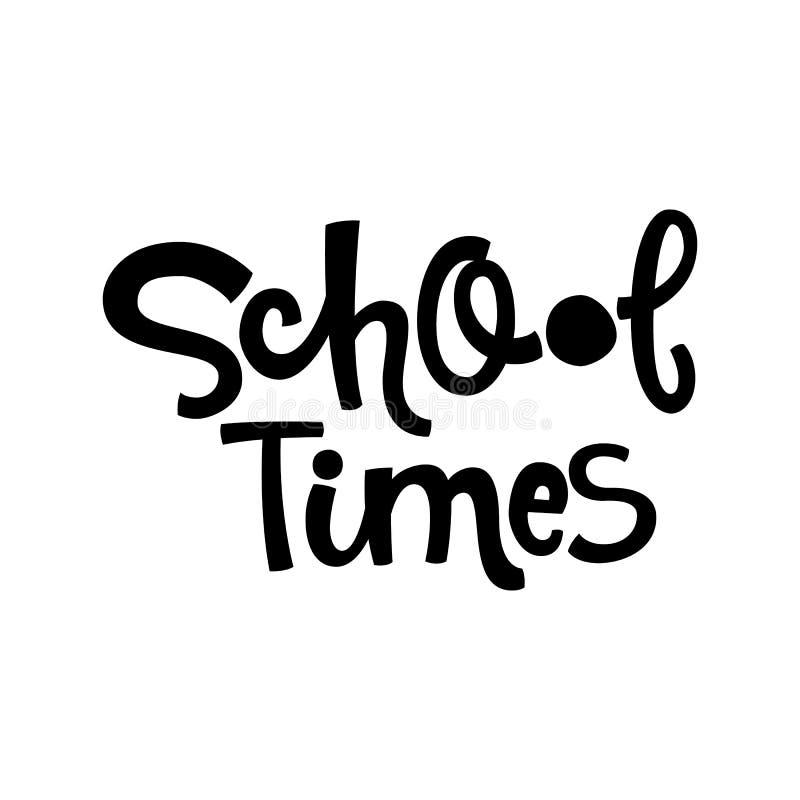 Citazione di tempo della scuola Di nuovo alla frase d'iscrizione disegnata a mano in bianco e nero di logo della scuola illustrazione vettoriale