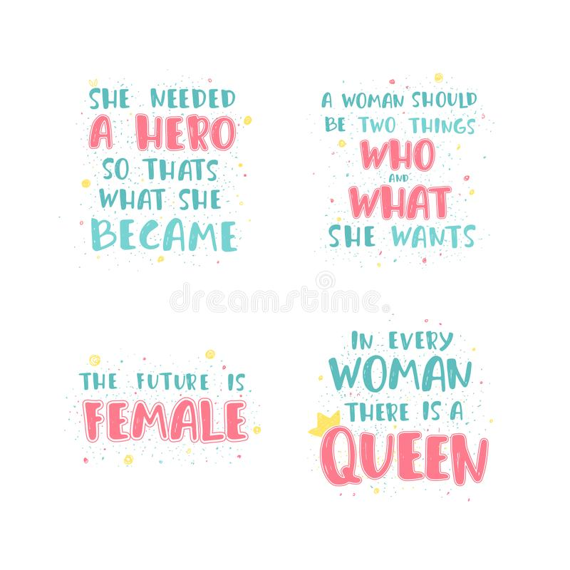 Citazione femminista dell'iscrizione illustrazione vettoriale