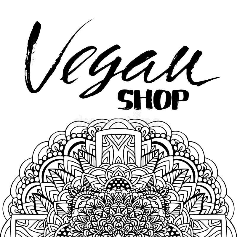 Citazione ispiratrice indicata da lettere della mano Negozio del vegano Iscrizione dell'inchiostro spazzolata mano royalty illustrazione gratis