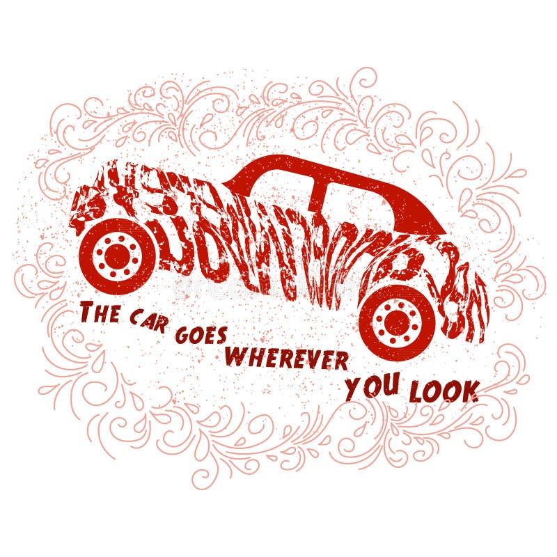 Citazione motivazionale circa le automobili illustrazione vettoriale