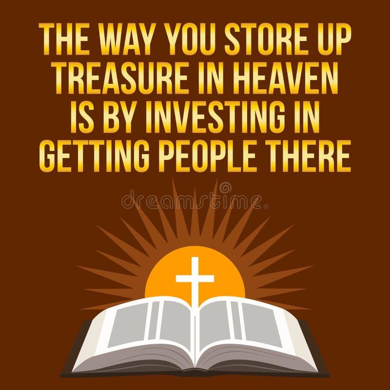 Citazione motivazionale cristiana Il modo fate provvista il tesoro nella h illustrazione di stock