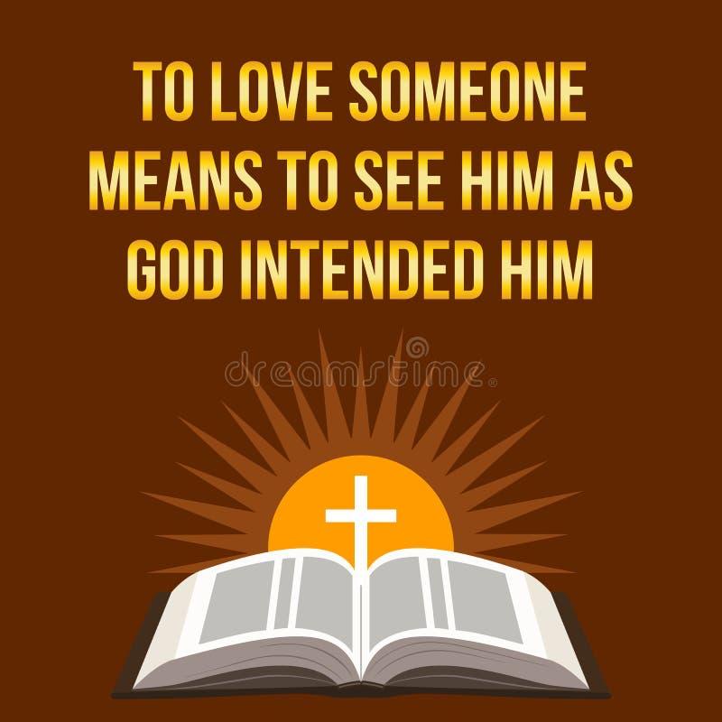 Citazione motivazionale cristiana Per amare qualcuno significa vederlo a illustrazione vettoriale