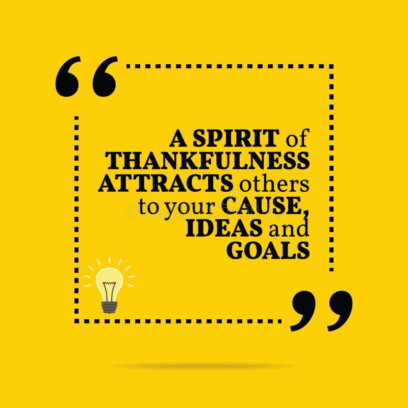 Citazione motivazionale ispiratrice Uno spirito del attra di gratitudine illustrazione di stock
