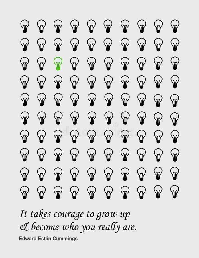 Citazione: Prende il coraggio crescere e trasformarsi in chi realmente siete immagini stock