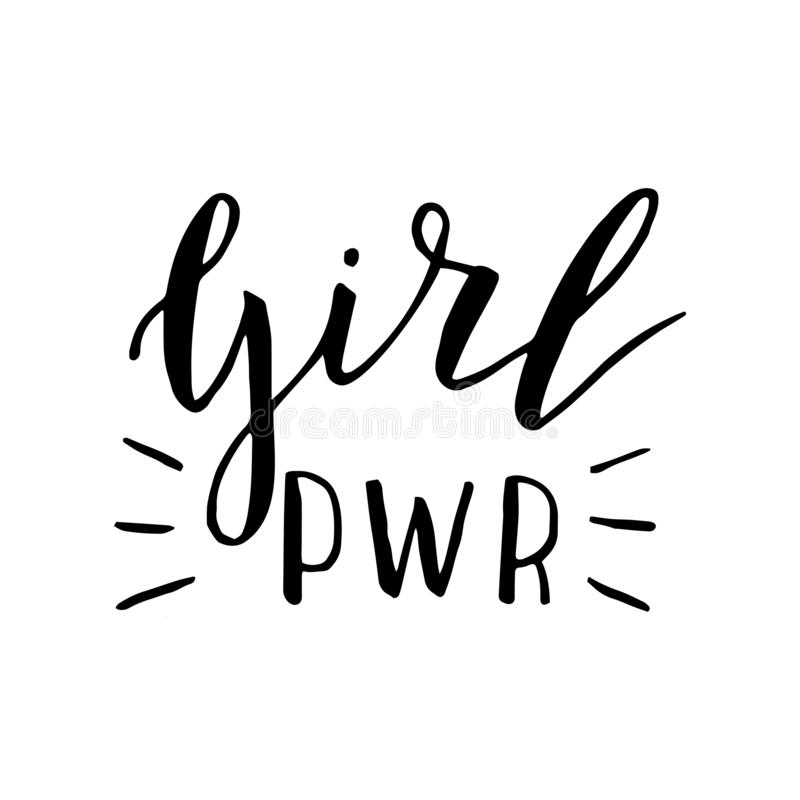 Citazione scritta a mano dell'iscrizione di potere della ragazza manifesto femminista d'avanguardia Logo per la maglietta, maglie illustrazione di stock
