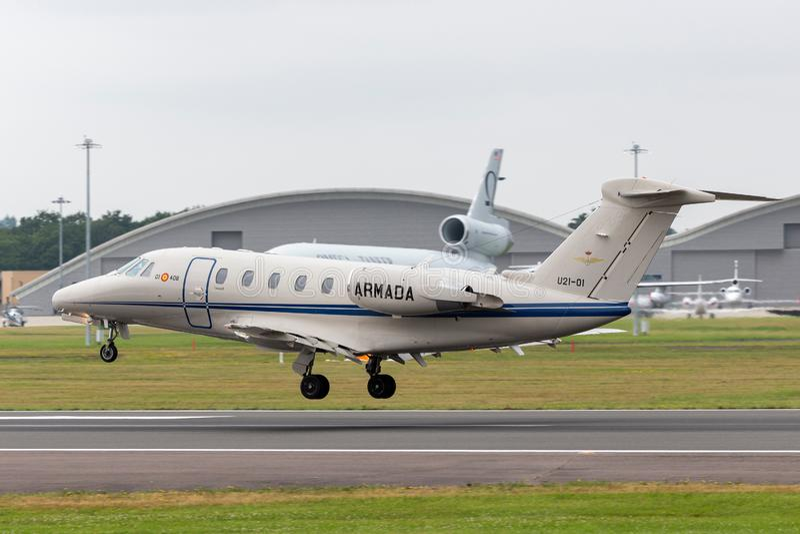 Citazione spagnola il Cessna di Española il Cessna dell'armada della marina 650 aerei U21-01 di trasporto di VIP immagini stock libere da diritti